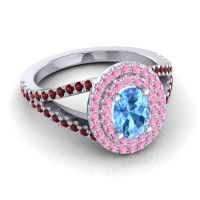 Ornate Oval Halo Dhala Swiss Blue Topaz Ring with Pink Tourmaline and Garnet in Platinum