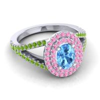 Ornate Oval Halo Dhala Swiss Blue Topaz Ring with Pink Tourmaline and Peridot in 14k White Gold