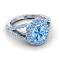 Ornate Oval Halo Dhala Swiss Blue Topaz Ring with Aquamarine in Platinum