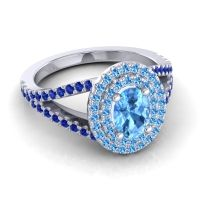 Ornate Oval Halo Dhala Swiss Blue Topaz Ring with Blue Sapphire in 18k White Gold
