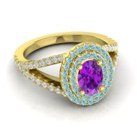 Ornate Oval Halo Dhala Amethyst Ring with Aquamarine and Diamond in 18k Yellow Gold