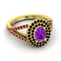 Ornate Oval Halo Dhala Amethyst Ring with Black Onyx and Ruby in 14k Yellow Gold