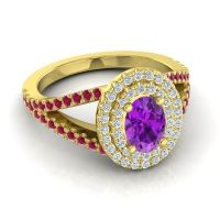 Ornate Oval Halo Dhala Amethyst Ring with Diamond and Ruby in 18k Yellow Gold