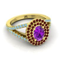 Ornate Oval Halo Dhala Amethyst Ring with Garnet and Aquamarine in 14k Yellow Gold