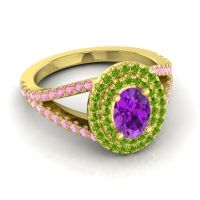 Ornate Oval Halo Dhala Amethyst Ring with Peridot and Pink Tourmaline in 14k Yellow Gold