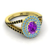 Ornate Oval Halo Dhala Amethyst Ring with Swiss Blue Topaz and Black Onyx in 18k Yellow Gold