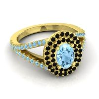 Ornate Oval Halo Dhala Aquamarine Ring with Black Onyx in 14k Yellow Gold