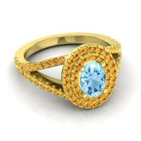 Ornate Oval Halo Dhala Aquamarine Ring with Citrine in 18k Yellow Gold