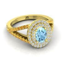 Ornate Oval Halo Dhala Aquamarine Ring with Diamond and Citrine in 14k Yellow Gold