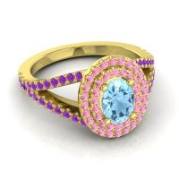 Ornate Oval Halo Dhala Aquamarine Ring with Pink Tourmaline and Amethyst in 14k Yellow Gold
