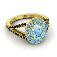 Ornate Oval Halo Dhala Aquamarine Ring with Swiss Blue Topaz and Black Onyx in 18k Yellow Gold