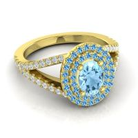 Ornate Oval Halo Dhala Aquamarine Ring with Swiss Blue Topaz and Diamond in 14k Yellow Gold