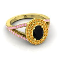 Ornate Oval Halo Dhala Black Onyx Ring with Citrine and Pink Tourmaline in 14k Yellow Gold