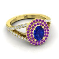 Ornate Oval Halo Dhala Blue Sapphire Ring with Amethyst and Diamond in 14k Yellow Gold