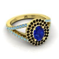 Ornate Oval Halo Dhala Blue Sapphire Ring with Black Onyx and Swiss Blue Topaz in 14k Yellow Gold