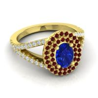 Ornate Oval Halo Dhala Blue Sapphire Ring with Garnet and Diamond in 14k Yellow Gold