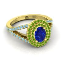 Ornate Oval Halo Dhala Blue Sapphire Ring with Peridot and Aquamarine in 18k Yellow Gold