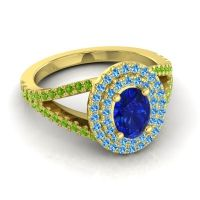 Ornate Oval Halo Dhala Blue Sapphire Ring with Swiss Blue Topaz and Peridot in 18k Yellow Gold