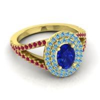 Ornate Oval Halo Dhala Blue Sapphire Ring with Swiss Blue Topaz and Ruby in 14k Yellow Gold