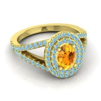 Ornate Oval Halo Dhala Citrine Ring with Aquamarine in 14k Yellow Gold