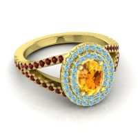 Ornate Oval Halo Dhala Citrine Ring with Aquamarine and Garnet in 14k Yellow Gold
