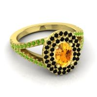Ornate Oval Halo Dhala Citrine Ring with Black Onyx and Peridot in 14k Yellow Gold