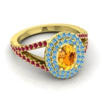 Ornate Oval Halo Dhala Citrine Ring with Swiss Blue Topaz and Ruby in 14k Yellow Gold