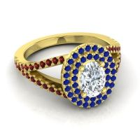 Ornate Oval Halo Dhala Diamond Ring with Blue Sapphire and Garnet in 14k Yellow Gold