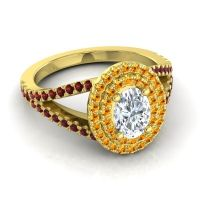 Ornate Oval Halo Dhala Diamond Ring with Citrine and Garnet in 18k Yellow Gold