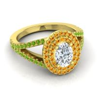 Ornate Oval Halo Dhala Diamond Ring with Citrine and Peridot in 18k Yellow Gold