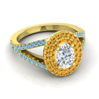 Ornate Oval Halo Dhala Diamond Ring with Citrine and Swiss Blue Topaz in 18k Yellow Gold