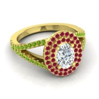 Ornate Oval Halo Dhala Diamond Ring with Ruby and Peridot in 14k Yellow Gold