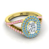 Ornate Oval Halo Dhala Diamond Ring with Swiss Blue Topaz and Pink Tourmaline in 18k Yellow Gold