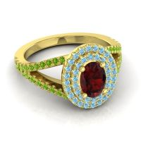 Ornate Oval Halo Dhala Garnet Ring with Aquamarine and Peridot in 14k Yellow Gold