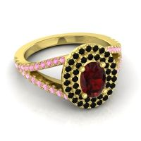 Ornate Oval Halo Dhala Garnet Ring with Black Onyx and Pink Tourmaline in 18k Yellow Gold