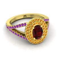 Ornate Oval Halo Dhala Garnet Ring with Citrine and Amethyst in 14k Yellow Gold