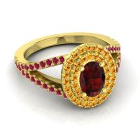 Ornate Oval Halo Dhala Garnet Ring with Citrine and Ruby in 18k Yellow Gold