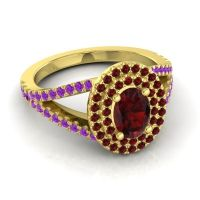 Ornate Oval Halo Dhala Garnet Ring with Amethyst in 14k Yellow Gold