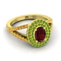 Ornate Oval Halo Dhala Garnet Ring with Peridot and Citrine in 14k Yellow Gold