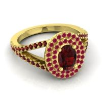 Ornate Oval Halo Dhala Garnet Ring with Ruby in 18k Yellow Gold