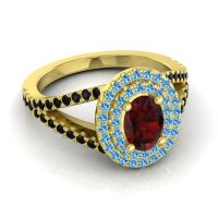 Ornate Oval Halo Dhala Garnet Ring with Swiss Blue Topaz and Black Onyx in 14k Yellow Gold