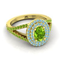 Ornate Oval Halo Dhala Peridot Ring with Aquamarine in 14k Yellow Gold