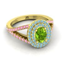 Ornate Oval Halo Dhala Peridot Ring with Aquamarine and Pink Tourmaline in 18k Yellow Gold