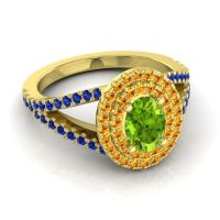 Ornate Oval Halo Dhala Peridot Ring with Citrine and Blue Sapphire in 14k Yellow Gold
