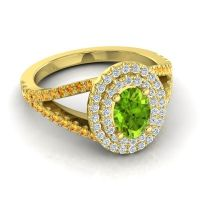 Ornate Oval Halo Dhala Peridot Ring with Diamond and Citrine in 18k Yellow Gold