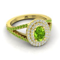 Ornate Oval Halo Dhala Peridot Ring with Diamond in 14k Yellow Gold