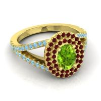 Ornate Oval Halo Dhala Peridot Ring with Garnet and Aquamarine in 18k Yellow Gold