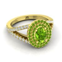 Ornate Oval Halo Dhala Peridot Ring with Diamond in 18k Yellow Gold