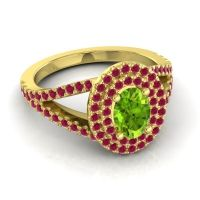 Ornate Oval Halo Dhala Peridot Ring with Ruby in 14k Yellow Gold