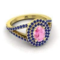Ornate Oval Halo Dhala Pink Tourmaline Ring with Blue Sapphire in 14k Yellow Gold